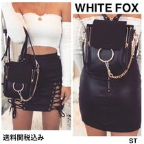 WHITE FOX Casual Style Tassel 3WAY Chain Plain Bags