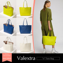 Valextra Casual Style Calfskin A4 Plain Elegant Style Totes