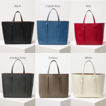 Valextra Casual Style Calfskin A4 Plain Totes