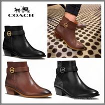 Coach Casual Style Street Style Leather Block Heels Elegant Style