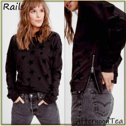 Crew Neck Heart Star Blended Fabrics Long Sleeves Handmade