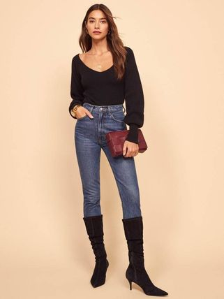 Short Casual Style Cashmere Rib V-Neck Long Sleeves Plain