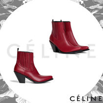 CELINE Triomphe Plain Leather Elegant Style High Heel Boots
