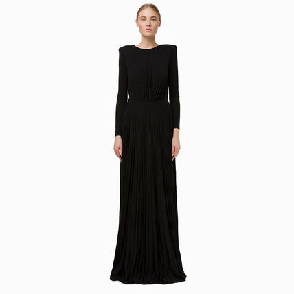 Maxi A-line Flared Boat Neck Long Sleeves Chain Plain Long
