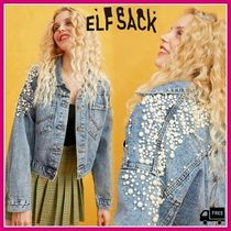 ELF SACK Casual Style Denim Street Style With Jewels Jackets