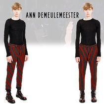 Ann Demeulemeester Stripes Wool Blended Fabrics Street Style Cotton