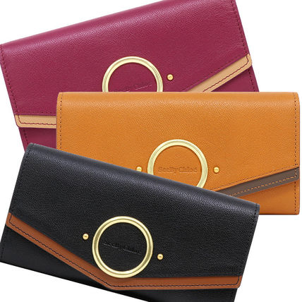 Plain Leather Folding Wallet Long Wallets