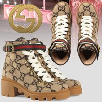 GUCCI Stripes Monogram Platform Round Toe Rubber Sole