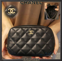 CHANEL TIMELESS CLASSICS Unisex Lambskin Plain Leather Pouches & Cosmetic Bags