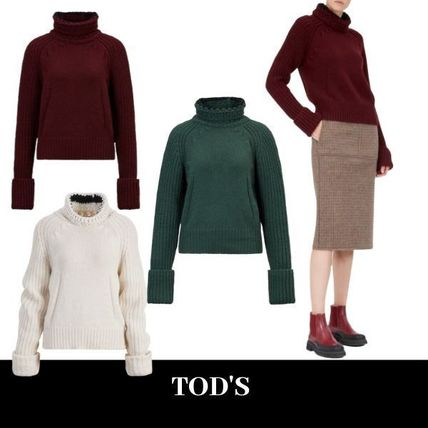 Casual Style Long Sleeves Plain High-Neck Office Style