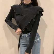 Cable Knit Casual Style Peplum Rib Bi-color Long Sleeves