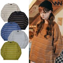 WV PROJECT Crew Neck Stripes Casual Style Unisex Street Style