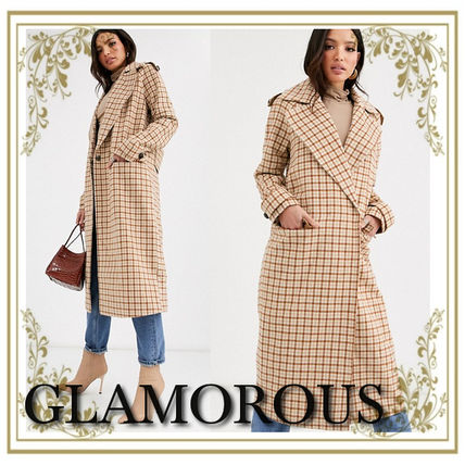 Gingham Casual Style Wool Blended Fabrics Long Coats