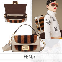 FENDI BAGUETTE Stripes Flower Patterns Casual Style Fur Street Style 2WAY