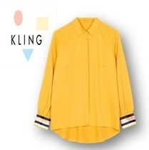 KLING Casual Style Long Sleeves Plain Long Shirts & Blouses
