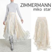 Zimmermann Flared Skirts Casual Style Silk Plain Long Party Style Lace