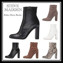 Steve Madden Leopard Patterns Round Toe Casual Style Plain Block Heels