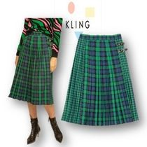 KLING Tartan Casual Style Pleated Skirts Cotton Medium Midi Skirts