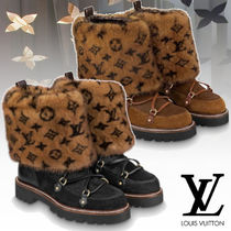 Louis Vuitton Monogram Fur Leather Elegant Style Ankle & Booties Boots