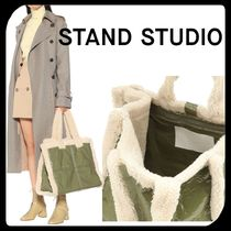 Stand Casual Style Faux Fur Plain Totes