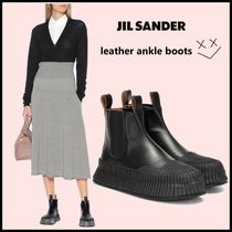 Jil Sander Casual Style Street Style Plain Leather Block Heels