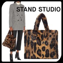 Stand Leopard Patterns Casual Style Faux Fur Plain Totes