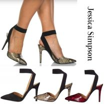Jessica Simpson Casual Style Suede Blended Fabrics Plain Pin Heels Python