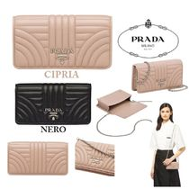 PRADA DIAGRAMME Chain Leather Party Style Shoulder Bags