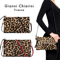 GIANNI CHIARINI Leopard Patterns Casual Style Calfskin 2WAY Leather