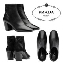 PRADA Square Toe Casual Style Plain Leather Elegant Style