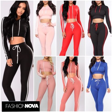 Casual Style Sweat Street Style Long Sleeves Plain Co-ord