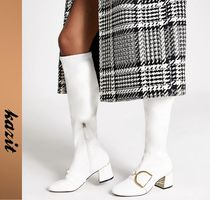 River Island Casual Style Faux Fur Block Heels Over-the-Knee Boots