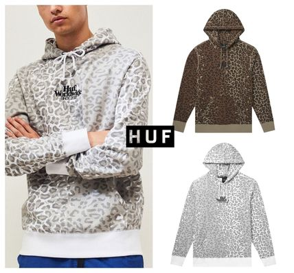 HUF Hoodies Pullovers Leopard Patterns Street Style Long Sleeves Plain
