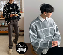 ASCLO Crew Neck Other Check Patterns Wool Long Sleeves