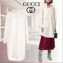 GUCCI Monogram Casual Style Long Sleeves Cotton Long Oversized