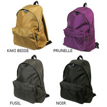 HERVE CHAPELIER Casual Style Unisex Nylon A4 Plain Logo Backpacks