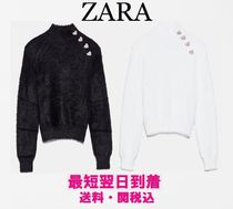 ZARA Heart Casual Style Long Sleeves Plain High-Neck Sweaters