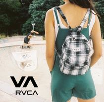 RVCA Gingham Casual Style Unisex Street Style Backpacks