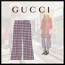 GUCCI Gingham Tweed Culottes & Gaucho Pants