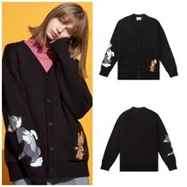 STEREO VINYLS COLLECTION Unisex Street Style Collaboration Oversized Cardigans