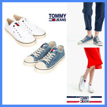 Tommy Hilfiger Unisex Street Style Plain PVC Clothing Oversized Sneakers