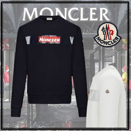 MONCLER Sweatshirts Crew Neck Street Style Long Sleeves Cotton