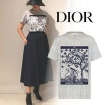 Christian Dior Crew Neck Short Cotton Short Sleeves Cropped
