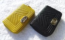 CHANEL BOY CHANEL Unisex Leather Coin Cases