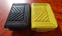 CHANEL BOY CHANEL Unisex Leather Long Wallet  Small Wallet Logo Coin Cases