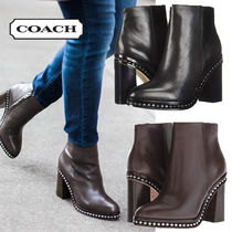 Coach Plain Leather Elegant Style High Heel Boots