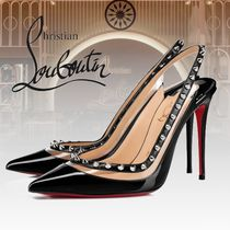 Christian Louboutin Studded Plain Leather PVC Clothing High Heel Pumps & Mules