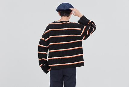ROMANTIC CROWN Vests & Gillets Cable Knit Pullovers Stripes Unisex Street Style U-Neck 4