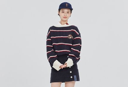 ROMANTIC CROWN Vests & Gillets Cable Knit Pullovers Stripes Unisex Street Style U-Neck 9