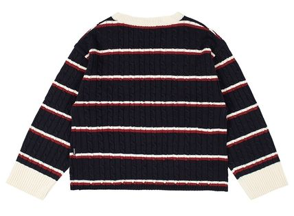 ROMANTIC CROWN Vests & Gillets Cable Knit Pullovers Stripes Unisex Street Style U-Neck 13